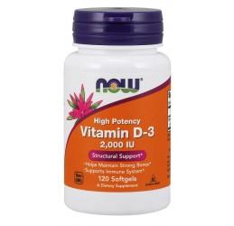 Now High Potency Vitamin D3 2000IU 120 Softgels