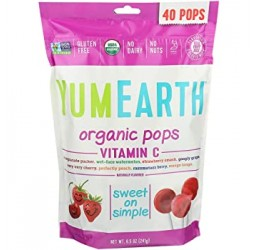 YUMEARTH LOLLIPOPS MIX FRUIT WITH VITAMIN C 40 PIECES BIO